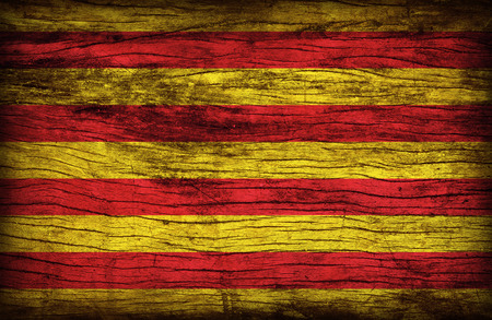 anthem: Senyera flag pattern on wooden board texture ,retro vintage style