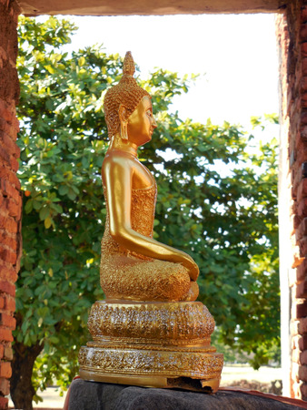 Sculpture of Buddha at Ayutthaya Historical Park, Thailand photo
