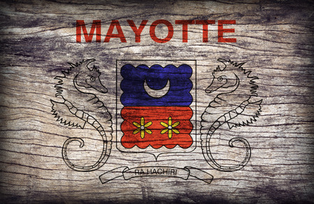 mayotte: Mayotte flag pattern on wooden board texture ,retro vintage style