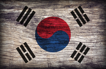 South Korea flag pattern on the wooden board texture ,retro vintage style photo