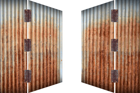 open old zinc door,rusty corrugated iron metal on white background photo