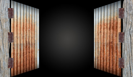 open old zinc doorrusty corrugated iron metal on black background photo & Open Old Zinc Doorrusty Corrugated Iron Metal On White Background ...