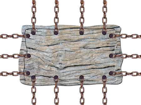 Wooden sign with chain on white background photo
