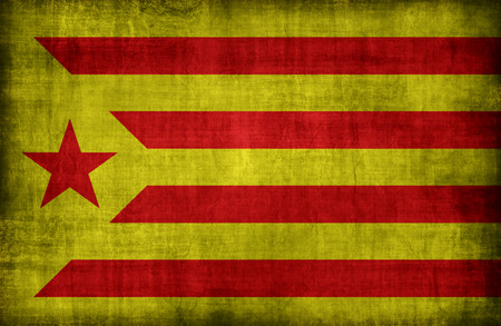 symbolic: Catalan Socialist Independence red estelada flag pattern ,retro vintage style
