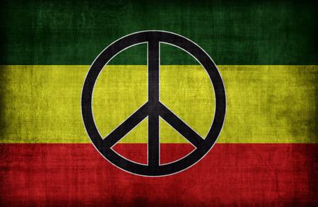 rastafari: Rasta flag pattern with a peace , retro vintage style Stock Photo