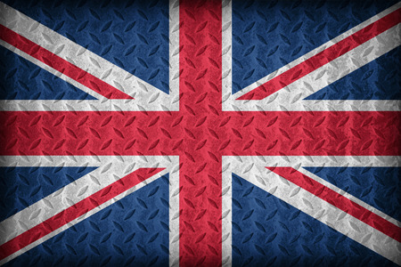 United Kingdom flag pattern on the diamond metal plate texture ,vintage style photo