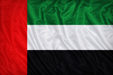 retrospective: The United Arab Emirates flag pattern on the fabric texture ,vintage style