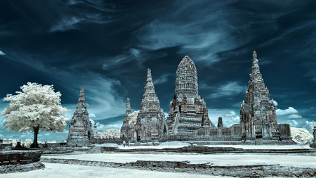 Old Temple in Ayutthaya Historical Park, Thailand taken in Near Infrared photo