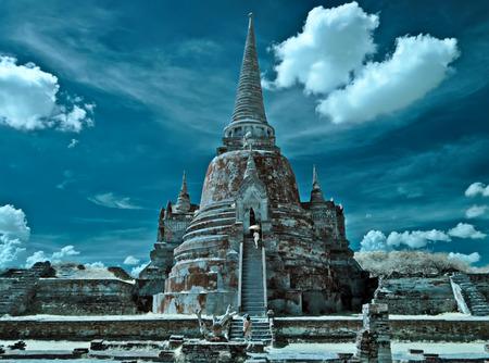 gautama buddha: Old Temple in Ayutthaya Historical Park, Thailand taken in Near Infrared Stock Photo