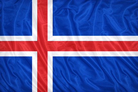 Iceland flag pattern on the fabric texture ,vintage style Stock Photo