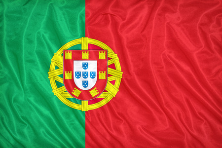 Portugal flag pattern on the fabric texture ,vintage style