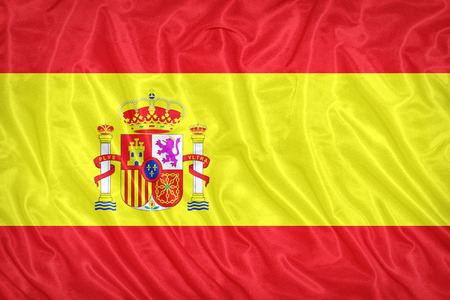 Spain flag pattern on the fabric texture ,vintage style