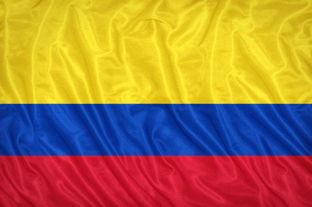 Colombia flag pattern on the fabric texture ,vintage style