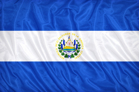 El Salvador flag pattern on the fabric texture ,vintage style Stock Photo