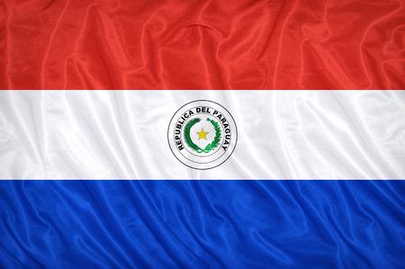 bandera de paraguay: Patr�n de bandera Paraguay en la textura de la tela, estilo vintage Foto de archivo