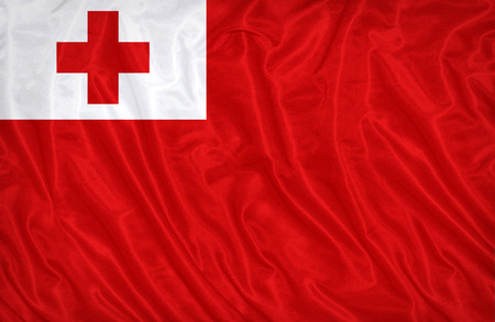 Tonga flag pattern on the fabric texture , vintage style