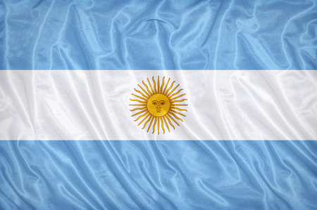 Argentina flag pattern on the fabric texture ,vintage style Stock Photo