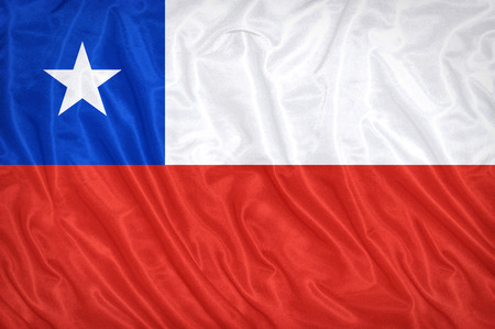 Chile flag pattern on the fabric texture ,vintage style Stock Photo