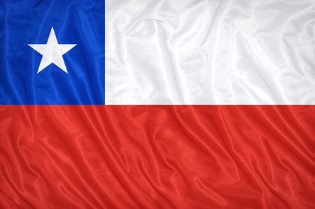 bandera de chile: Patr�n de bandera de Chile en la textura de la tela, estilo vintage