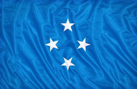 Micronesia Islands flag pattern on the fabric texture , vintage style