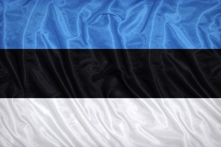 Estonia flag pattern on the fabric texture ,vintage style