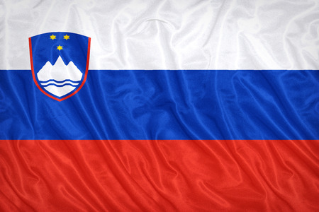Slovenia flag pattern on the fabric texture ,vintage style
