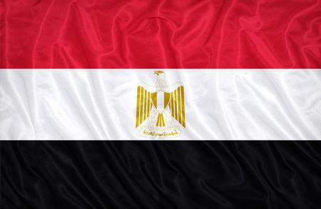 bandera egipto: Patr�n de la bandera de Egipto en la textura de la tela, estilo vintage
