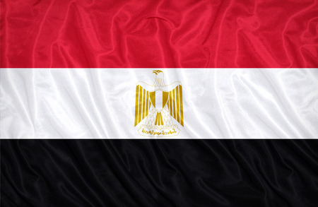 flag of egypt: Patr�n de la bandera de Egipto en la textura de la tela, estilo vintage