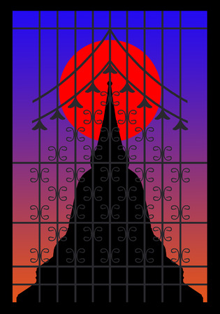 believes: Silhouette of pagoda on the sunset behind wrought iron window