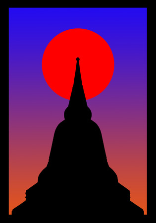 believes: Silhouette of pagoda on the sunset in window frame