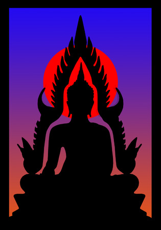 Silhouette of buddha on the sunset in window frame photo