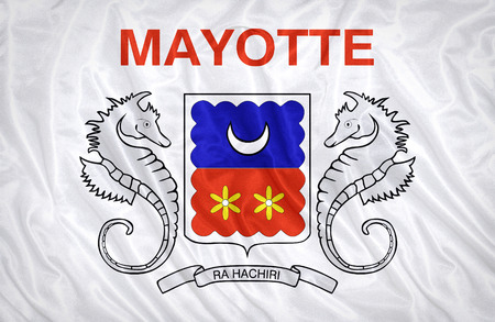 mayotte: Mayotte flag pattern on the fabric texture ,vintage style