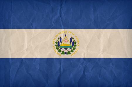 bandera de el salvador: Patr�n de la bandera El Salvador en la textura de papel, estilo retro de la vendimia