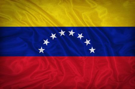 bandera de venezuela: Patr�n de bandera de Venezuela en la textura de la tela, estilo vintage Foto de archivo