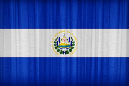 bandera de el salvador: Patr�n de la bandera El Salvador en la cortina de tela, estilo vintage