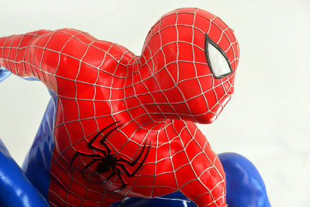 AYUTTAYA,THAILAND - DECEMBER 19, 2014: Spider-Man model at Thung Bua Chom floating market