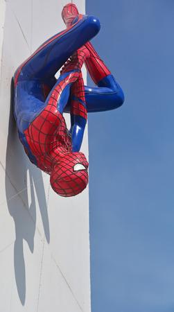AYUTTAYA,THAILAND - DECEMBER 19, 2014: Spider-Man model upside down on billboards at Thung Bua Chom floating market