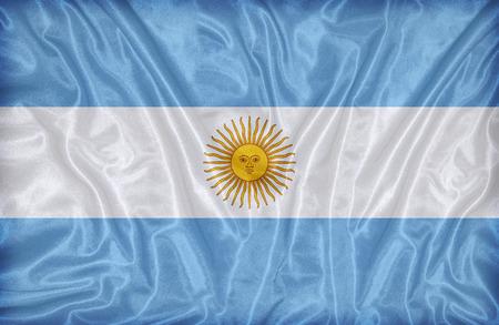 bandera argentina: Patr�n de la bandera Argentina en la textura de la tela, estilo vintage