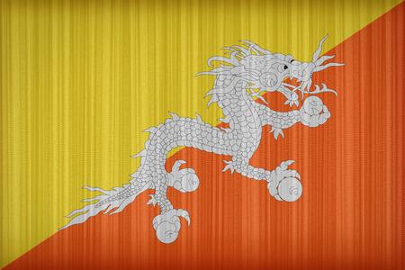 retrospective: Bhutan flag pattern on the fabric curtain,vintage style Stock Photo
