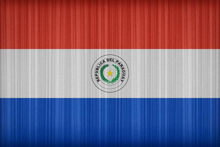 bandera de paraguay: Patr�n de bandera Paraguay en la cortina de tela, estilo vintage Foto de archivo