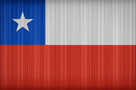 bandera de chile: Chile flag pattern on the fabric curtain,vintage style