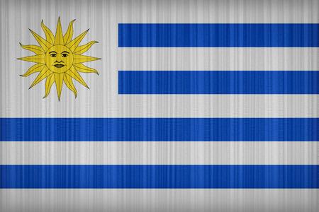 bandera de uruguay: Patr�n de bandera de Uruguay en la cortina de tela, estilo vintage