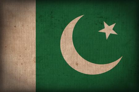 pakistan flag: Pakistan flag pattern on the fabric texture ,retro vintage style