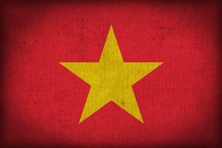 vietnam flag: Vietnam flag pattern on the fabric texture ,retro vintage style