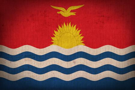 papua: Kirbati flag pattern on the fabric texture ,retro vintage style Stock Photo