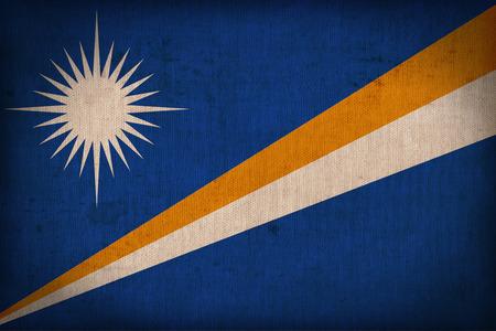 micronesia: Marshall Island flag pattern on the fabric texture ,retro vintage style