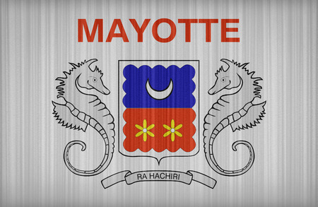 mayotte: Mayotte flag pattern on the fabric curtain,vintage style