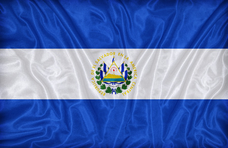 el salvador flag: El Salvador flag pattern on the fabric texture ,vintage style Stock Photo