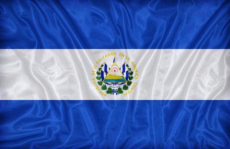 bandera de el salvador: Patr�n de la bandera El Salvador en la textura de la tela, estilo vintage