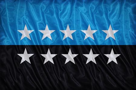 european community: European Coal and Steel Community 10 star flag pattern on fabric texture, vintage style